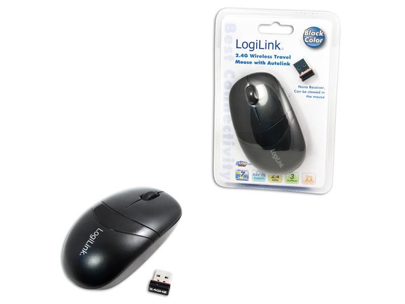 LogiLink 2,4GHz travel mouse with autolink black (ID0069)