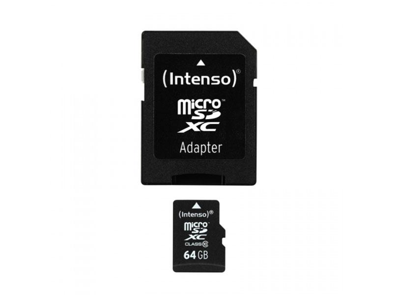 MicroSDXC 64GB Intenso +Adapter CL10 Blister