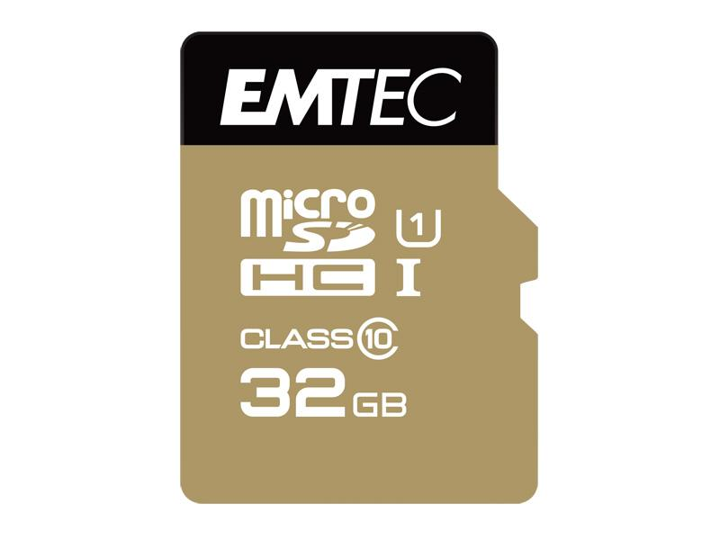 MicroSDHC 32GB EMTEC +Adapter CL10 Gold+ UHS-I 85MB/s Blister