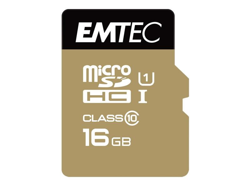 MicroSDHC 16GB EMTEC +Adapter CL10 Gold+ UHS-I 85MB/s Blister