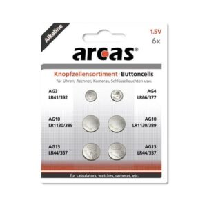 Battery Arcas Button Cells Set AG3-AG13 0% Mercury/Hg (6 pcs.)