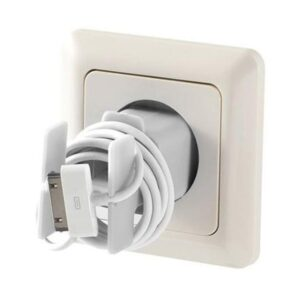 Cell Phone Charging Cable Organizer & Holder (White)