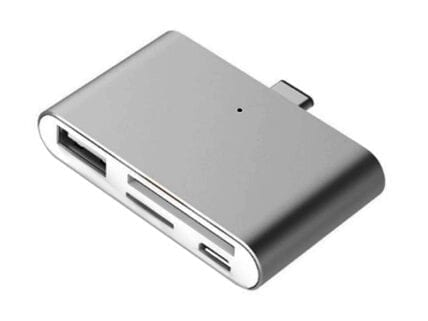 USB Type-C Smart Reader for microSD, SD, USB, USB Micro (Grey)