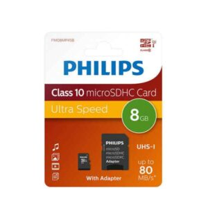 Philips MicroSDHC 8GB CL10 80mb/s UHS-I +Adapter Retail
