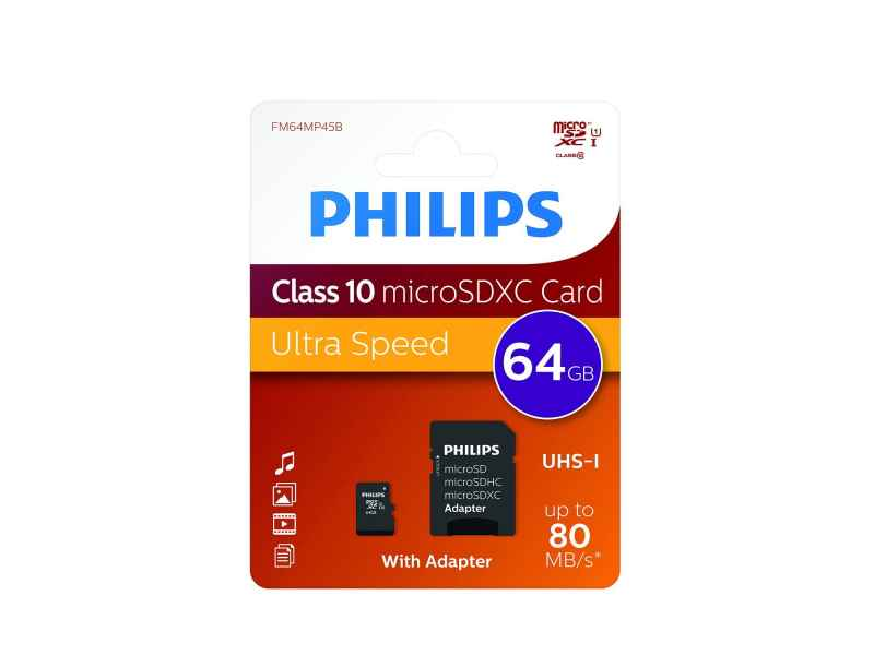 Philips MicroSDXC 64GB CL10 80mb/s UHS-I +Adapter Retail
