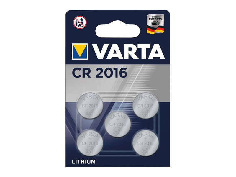 Varta Batterie Lithium Knopfzelle CR2016 Blister (5-Pack) 06016 101 415