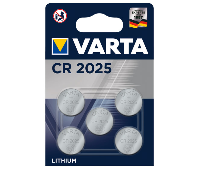 Varta Batterie Lithium, Knopfzelle CR2025 Blister (5-Pack) 06025 101 415