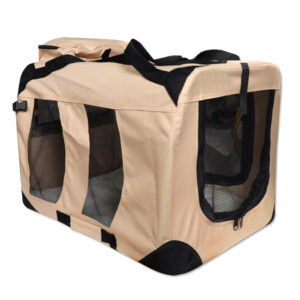 Dog Transport Box + Lying Mat (size L / 80cm, beige)