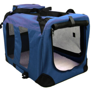 Dog Transport Box + Lying Mat (size L / 80cm, Navy Blue)