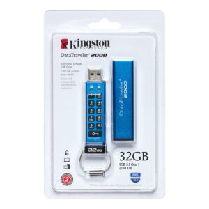 Kingston DataTraveler 2000 32 Gt: n USB FlashDrive 3.0 Secure DT2000 / 32 Gt